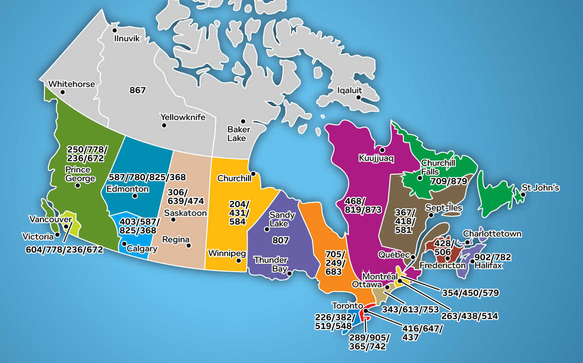 Canada Area Code Map Telecommunications Alliance